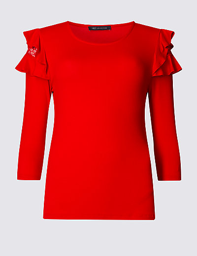 M&S COLLECTION Lace Ruffle 3/4 Sleeve Jersey Top £17.50 Click to visit M&S