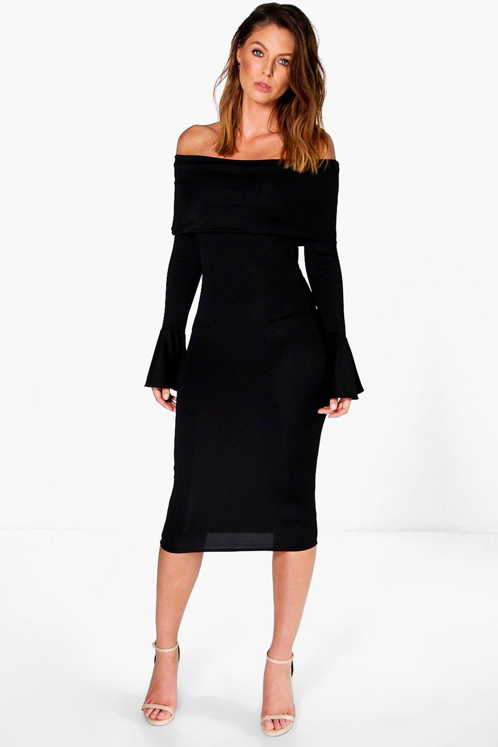Annora Oversized Bardot Midi Dress £20 Click to visit Boohoo