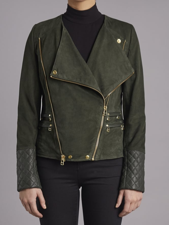Gloster Green Suede Biker Jacket £375.00 (£187.50 with discount) (FREE WORLDWIDE Delivery) Click to visit Muubaa