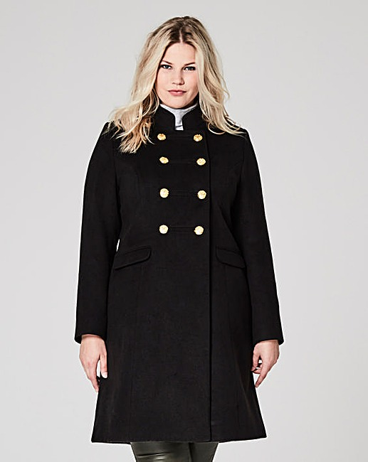 Double Breasted Military Coat £69 Click to visit Simply Be