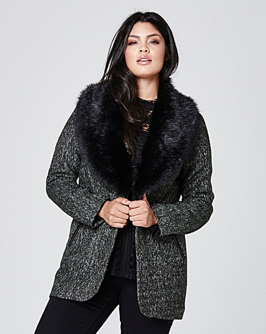 Tweed Coat With Faux Fur Collar £75 Click to visit Simply Be