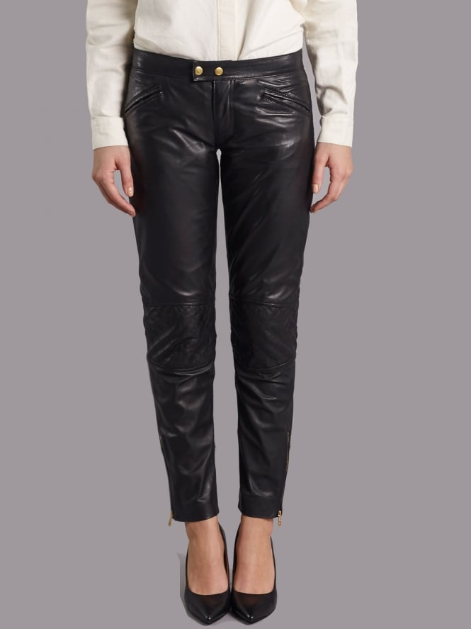 Parnell Black Leather Slimline Trousers Code: M1050_BLAC £225.00 (£112.50 with code) Click to visit Muubaa