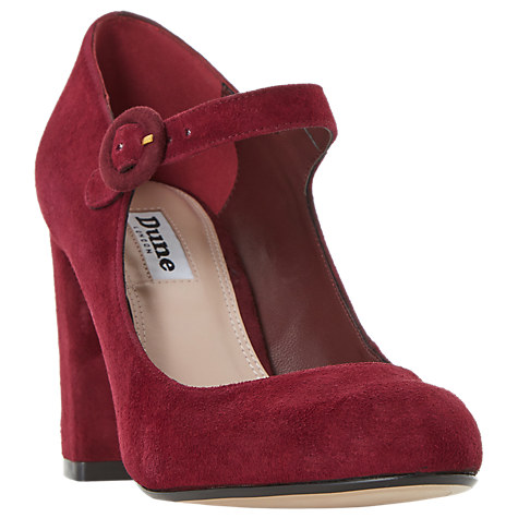 Dune Armorel Mary Jane Block Heel Court Shoes, Burgundy Suede £75 Click to visit John Lewis