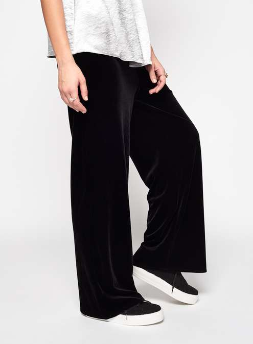 Black Velvet Wide Leg Trousers Was £35.00 Now £20.00Click to visit Miss Selfridge