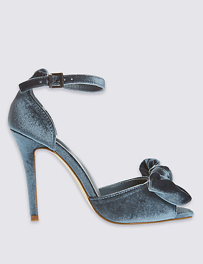 M&S COLLECTION Velvet Stiletto Buckle Bow Sandals with Insolia® T020664A £29.50 Click to visit M&S