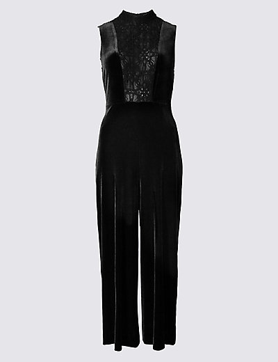 M&S COLLECTION Velvet Culotte Sleeveless Jumpsuit T427082 £49.50 Click to visit M&S