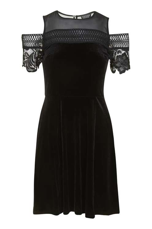Velvet Trim Cold Shoulder Skater Dress £49.00 Click to visit Topshop