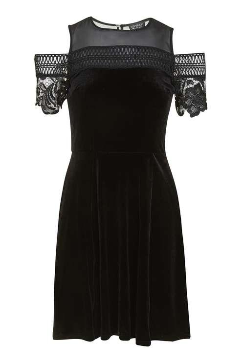 Velvet Trim Cold Shoulder Skater Dress £49.00 Click to visit Topshop