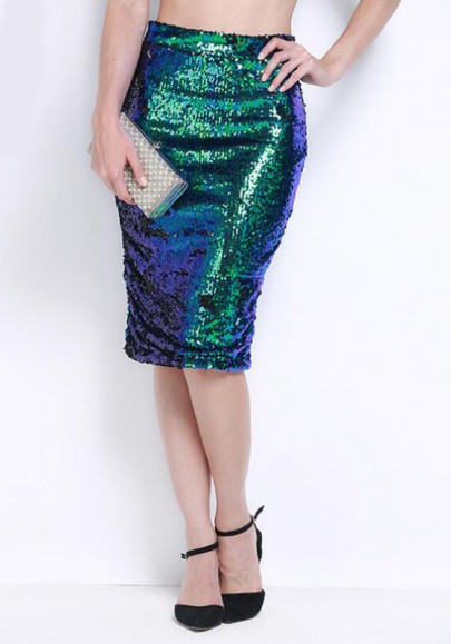 Dark Green Plain Sequin Print Sexy Bodycon Club Pencil High Waisted Skirt £24.82 Click to visit CiChic