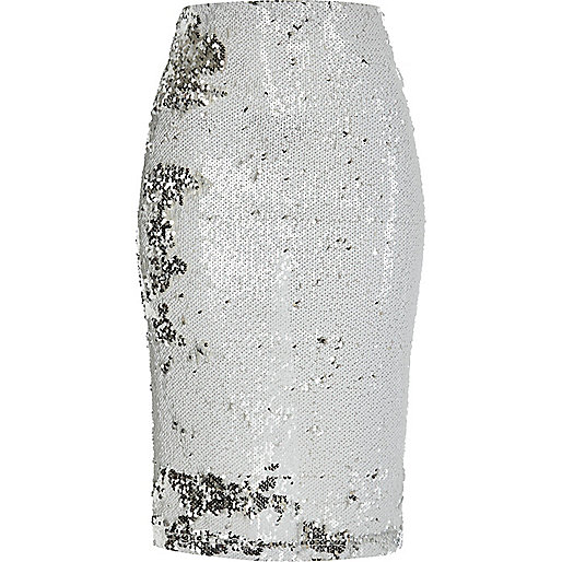 White sequin pencil skirt Was £32.00 Now £15.00 Click to visit River Island