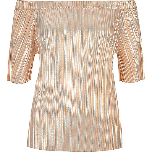 Nude metallic pleated bardot top Was £28.00 Now £15.00 Click to visit River Island