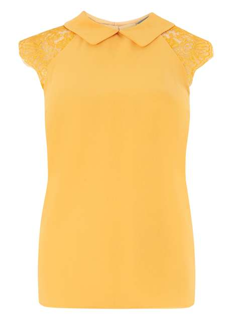 Yellow lace soft tee Was £24.00 Now £12.00Click to visit Dorothy Perkins
