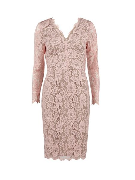 Gina Bacconi Lace dress with v neck and long sleeves