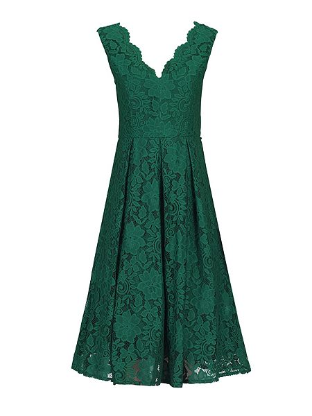 Jolie Moi V Neck Pleated Lace Dress