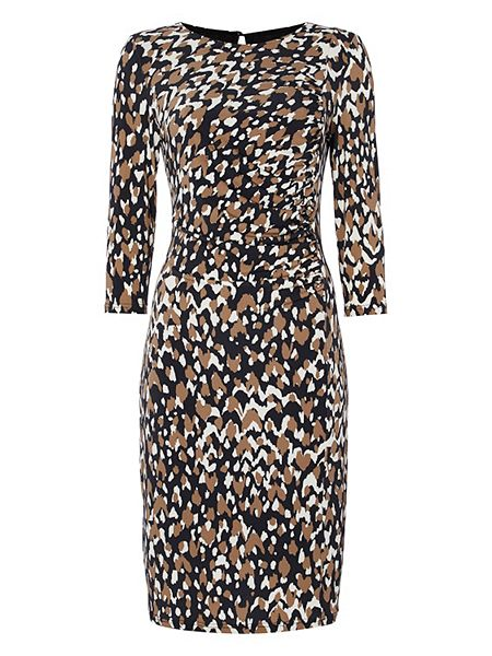 Roman Originals Animal Print Side Drape Dress now |£25 Click to visit House of Fraser