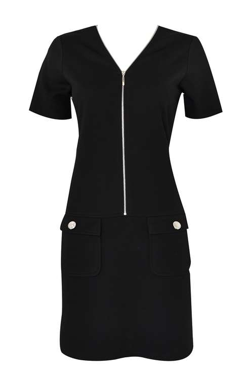 Petite Black Zip Front Shift Dress Price: £35.00 Click to visit Wallis