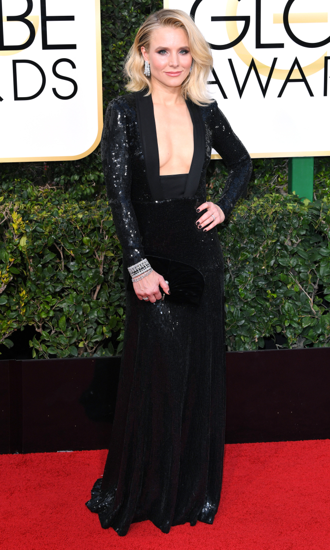 Mandatory Credit: Photo by REX/Shutterstock (7734773dc) Kristen Bell 74th Annual Golden Globe Awards, Arrivals, Los Angeles, USA - 08 Jan 2017