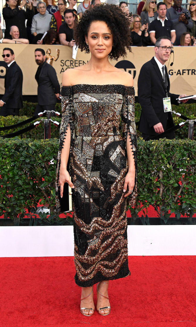 LOS ANGELES, CA - JANUARY 29: Actress Nathalie Emmanuel attends The 23rd Annual Screen Actors Guild Awards at The Shrine Auditorium on January 29, 2017 in Los Angeles, California. 26592_008 (Photo by Frazer Harrison/Getty Images)