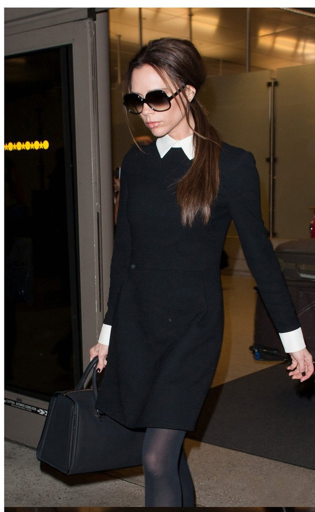 spring-dress-victoria-Beckham-Dress-2014-solid-Black-runway-New-fashion-long-sleeve-spring-high-quality