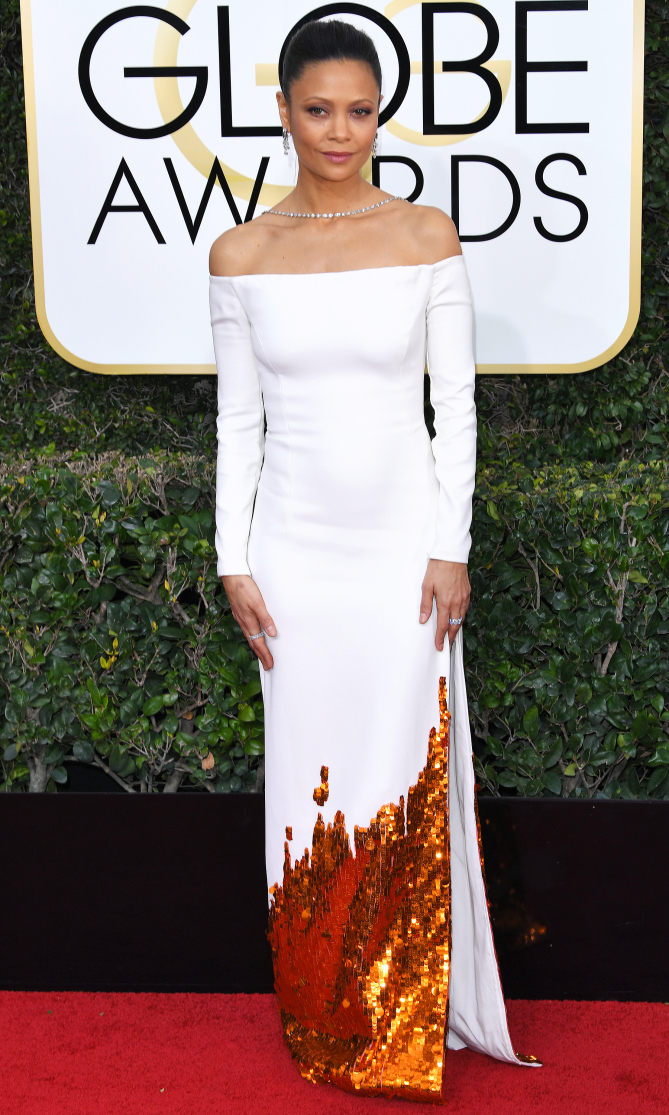 Mandatory Credit: Photo by REX/Shutterstock (7734773eu) Thandie Newton 74th Annual Golden Globe Awards, Arrivals, Los Angeles, USA - 08 Jan 2017