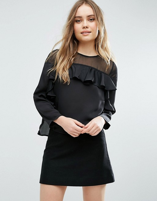 ASOS Ruffle Top in Satin with Sheer Panel £14.00 Click to visit ASOS