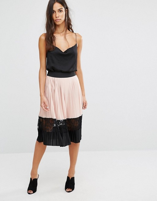 River Island Pleated Midi Skirt With Mesh Inserts £17.50 Click to visit ASOS
