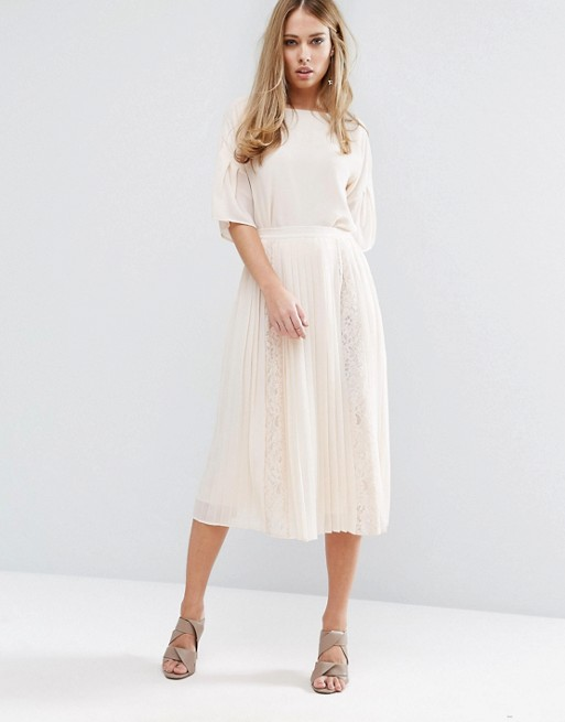 Warehouse Lace Insert Pleated Midi Skirt £55.00 Click to visit ASOS