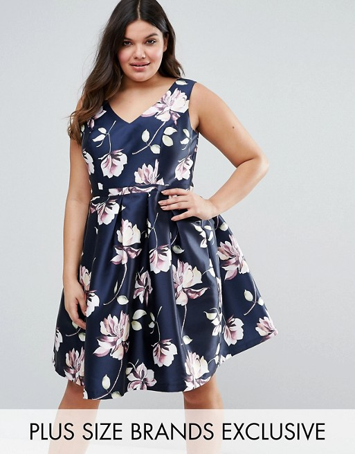 Chi Chi London Plus Sateen Floral Print Prom Dress £65.00 Click to visit ASOS