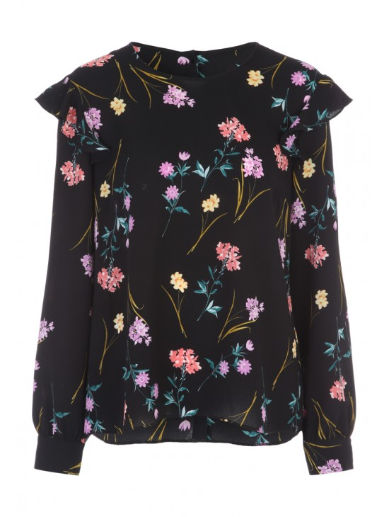 Womens Black Floral Ruffle Shoulder Top £16.00 Click to visit Peacocks