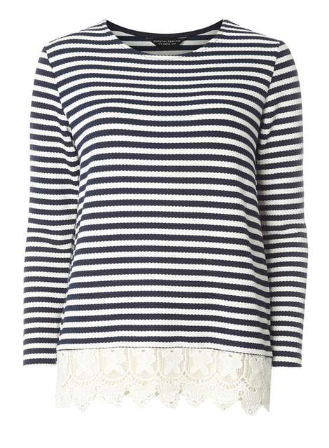Navy Stripe Lace Jersey Knitted Top Price: £24.00 Click to visit Dorothy Perkins