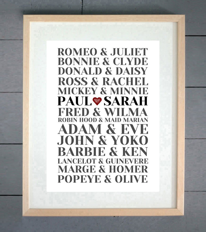 Wedding Gifts For Couples Who Like To Travel : Personalised Famous Couples Print from ?10 Click to visit Ellie Beans