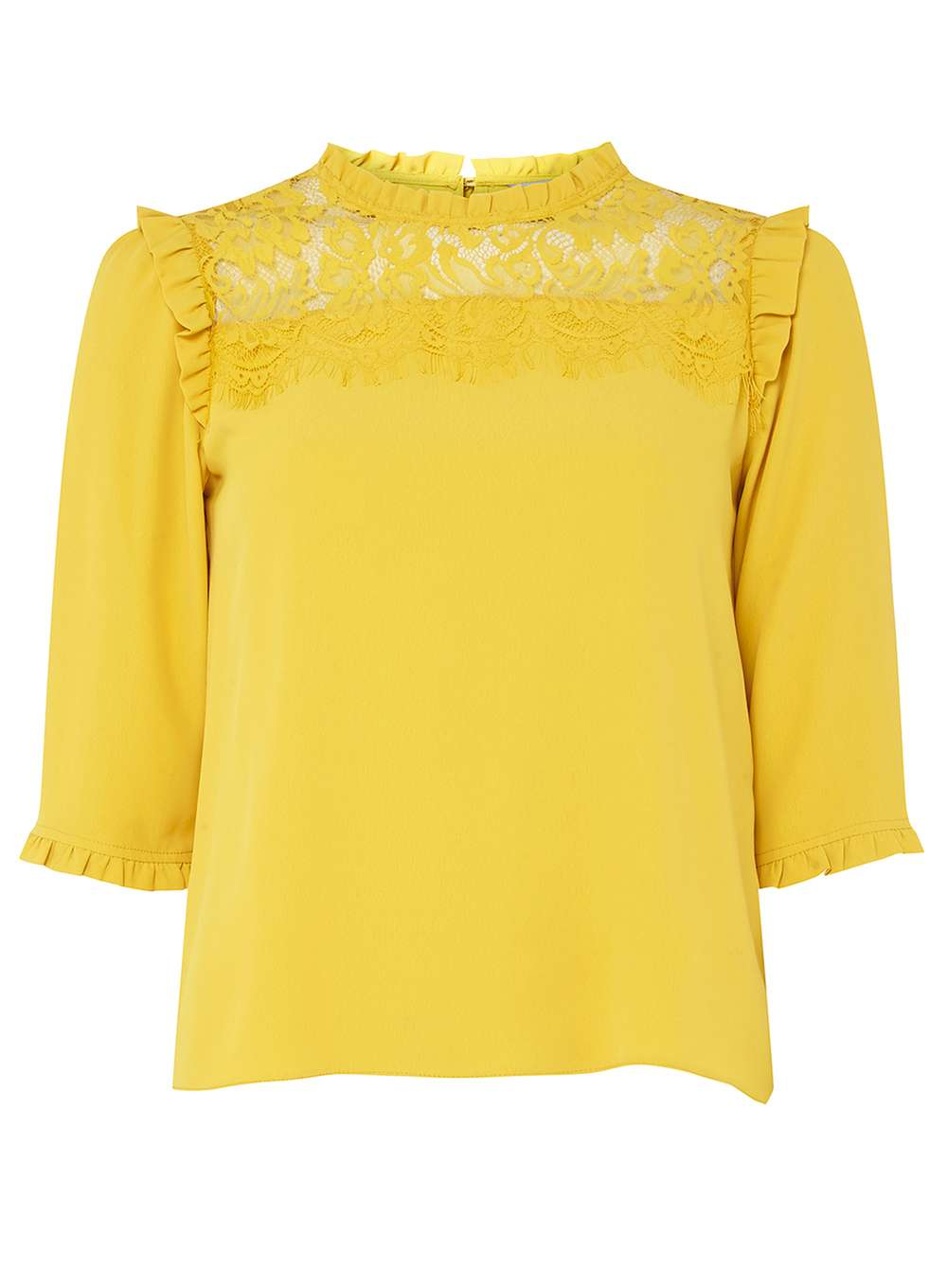 5a54e32c3d4 Petite Yellow Lace Yoke Blouse Was £25.00 Now £18.75 Click to visit Dorothy  Perkins